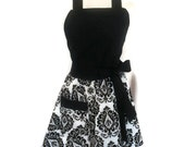 Classic Flirty Apron, Black and White Damask, sexy apron, Black Ties, mother's day gift, cute aprons for women, bridal shower gift, kitchen