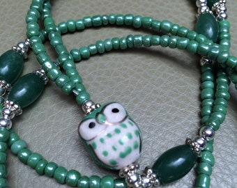 Green Green Owl Beaded Lanyard / ID Badge Holder / Animal Lanyard