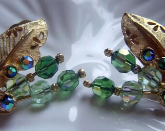 Rhinestone and Green Bead Earrings