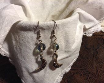 Sparkling Moon Dangle Earrings