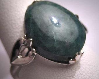 Antique Jade Ring Vintage Victorian Art Deco Silver Set Art Deco