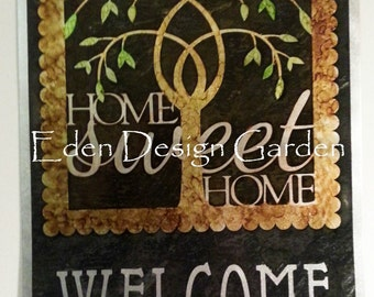Etched metal HOME sweet HOME WELCOME house sign