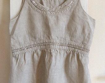 Vintage, 100% linen camisole, top tank, natural linen, sequins