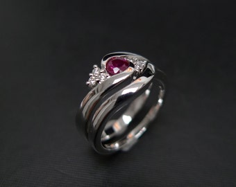 Set Of TWO Ruby Engagement Ring Diamond Wedding Band