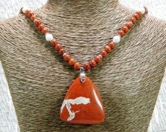 """Red River jasper triangle pendant necklace 19"""" long fossil jasper semiprecious stone jewelry packaged in a colorful gift bag 10545"""