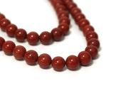 6mm red jasper beads / round gemstone / HALF strand / (816S)