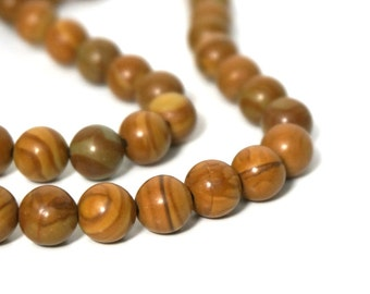 8mm Tiger Jasper beads (Wood Jasper) round natural brown gemstone bead, Full & half strands available  (928S)