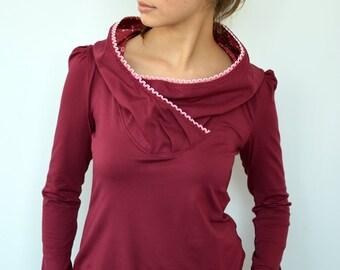 bordeaux jersey hoodie - lace - flowers