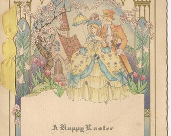 Vintage Easter Greeting Card - Spring Scene - Man & Woman in Colonial Dress - Tulips - Flowering Cherry Tree - Pastel Colors