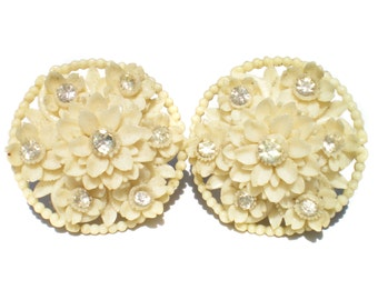 White Flower Clip On Earrings of Molded Plastic with Rhinestones - Vintage Costume Jewelry Signed Japan