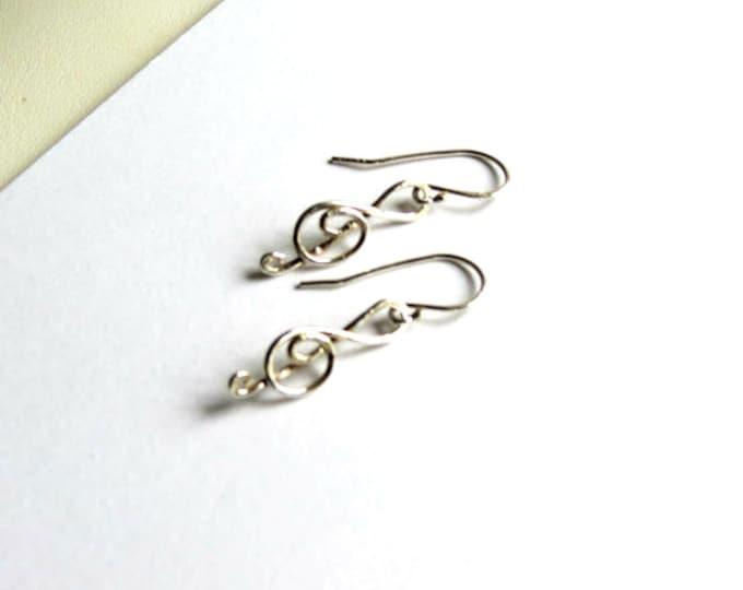 Treble Clef Sterling Silver, Musical Earrings, Drop Earrings, Handmade Earrings, Gift Idea for Musician