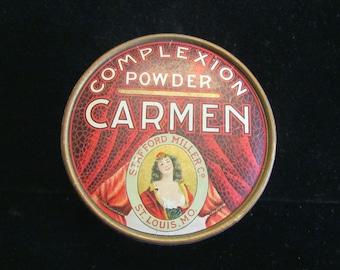 1930s Powder Box Vintage Carmen Complexion Powder Box Red Vanity Accessory UNUSED EXTREMELY RARE