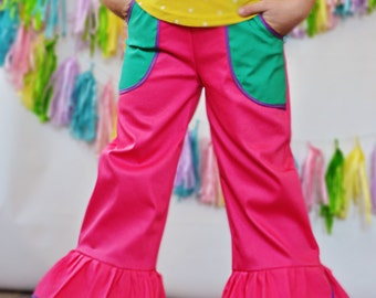 Girls Double Ruffle Color Block Hot Pink Pants