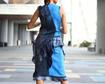 Two tone ruffled dress. Seamless Felted black royal blue short evening dress OOAK felted Dress DC Fashion week