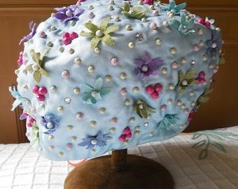 1960s MR JOHN Tall Pillbox  or Helmet Flower Power Hat Unworn w/ Original Tags