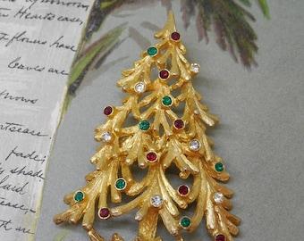 Signed MYLU Gold & Rhinestone Christmas Tree Brooch    KAT28