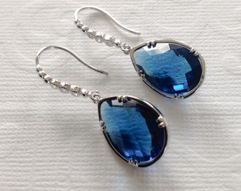 Dangle Earrings / Blue earrings / sapphire drop earring / Bridesmaid Earrings / antique tear drop / Crystal earrings,Gift