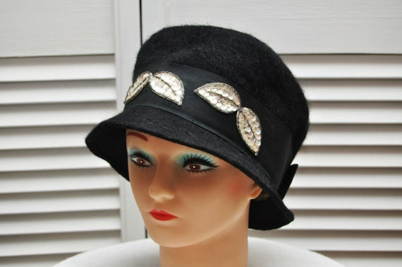 Vintage Hat 60s does 20s Black Mohair with Ribbon & Sequin Trim