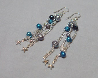 silver chain dangle earrings blue pearls stars