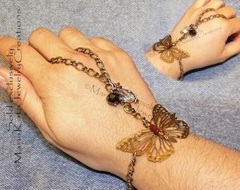 Ring & Metal Butterfly Bracelet Chain