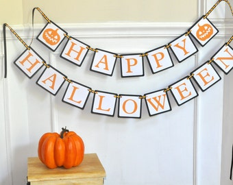 Happy Halloween Paper Banner - Halloween Party Decoration - Mantle Decor - Jack O Lantern - Haunted House Decor - Orange and Black Garland