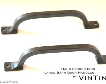 Set of 2 Hand Forged Iron Large Barn Door Handles by VinTin
