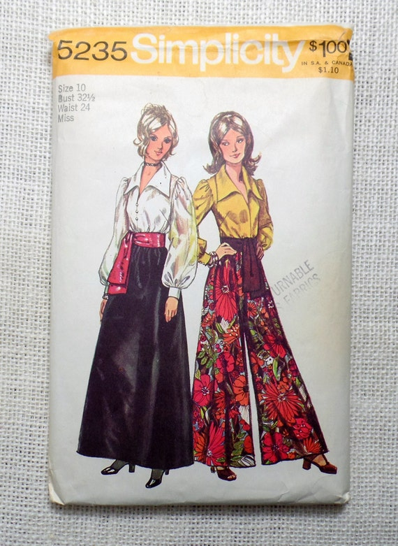 simplicity 5235 1970s 1972 palazzo pants vintage sewing