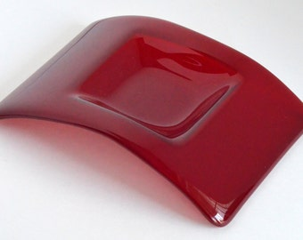 Fused Glass Candle Holder, Fused Glass Red Glass Candle Holder Bridge Home Decor