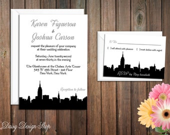 Wedding Invitation - New York City Silhouette - Invitation and RSVP Card with Envelopes