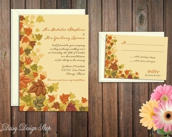Wedding Invitation - Autumn Leaves Falling - Invitation and RSVP Card with Envelopes