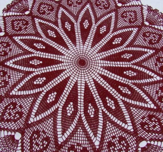 Crocheted burgundy thread tablecloth with kaleidoscope design adorned with hearts and delicate fans - READY TO SHIP