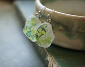 Beach Sea Glass Earrings with Vintage Botanical Illustration -- Shamrock and Bee -- Handmade in Ireland