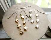 Dangling trio of stars earrings, night sky jewelry, star jewelry, silver or gold tone options, Orion's Belt
