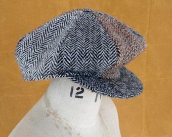 Vintage 1980s Harris Tweed Flat Cap Pinwheel Bakerboy Hat Size S