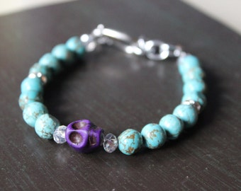 Purple Sugar Skull Bracelet Day of the Dead Bracelet
