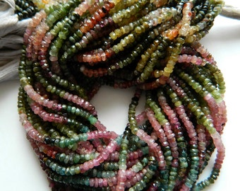 5 Strands Wholesale Lot Multi Tourmaline Rondelle Beads, 4mm Faceted Rondelles, 13.5 Inch Strands
