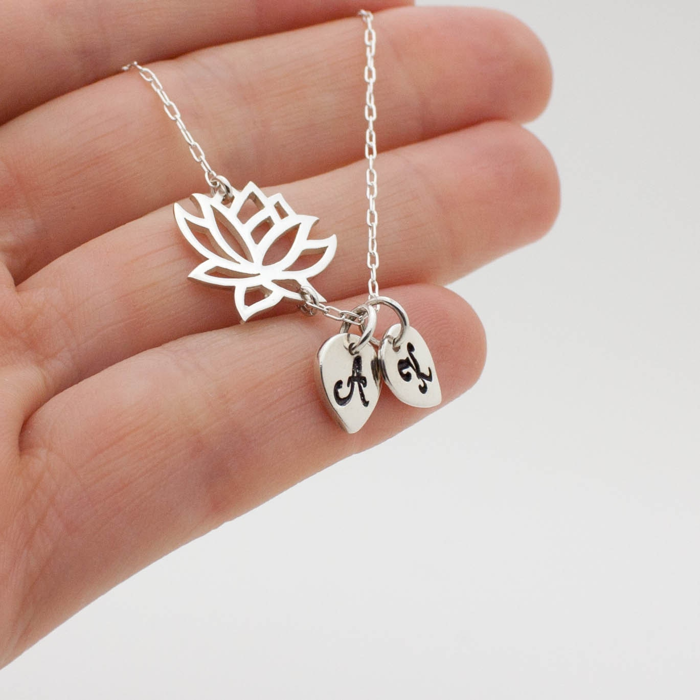 Silver Lotus Flower Necklace Personalized Yoga Jewelry 925