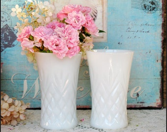 Milk Glass Vases/ Wedding Centerpieces/ White Milk Glass / Vintage Milk Glass