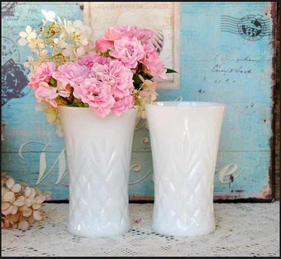 Vintage milk glass vases wedding centerpieces by