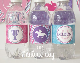 Girl Kentucky Derby Birthday - Girl Baby Shower - Water Bottle Labels - Printable Water Bottle Labels - Personalized // DERG-03
