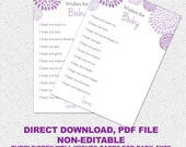 Well Wishes, I hope You, Baby Shower Game, Printable Girl Lavender, Purple and Charcoal Grey Gray Floral, Digital File