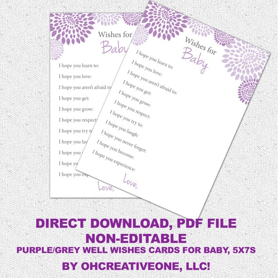 well wishes i hope you baby shower game printable girl lavender