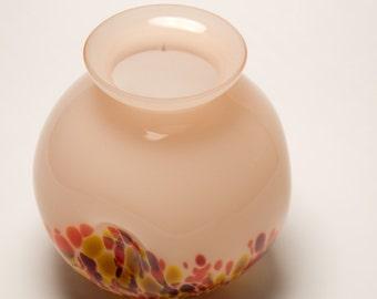 Art Deco Kralik Czech Pink Spatter Ball Vase 1930's Bohemian Cased Art Glass