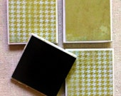 Green Houndstooth and Distressed Green Ceramic Tile Magnets Set of 4