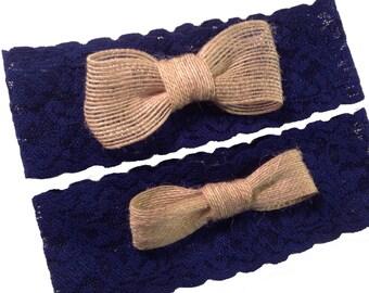 Something Blue and Burlap Wedding Garter Set Choose Custom Stretch Lace Color Rustic Wedding