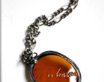 Beer Bottle Necklace, Michelob Beer, Bottle Jewelry, Booze Bottle, Broken Bottle, Stained Glass Jewelry, Gunmetal Chain (2123)