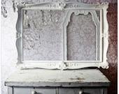 Vintage Shabby Chic Mirror Hollywood Regency White
