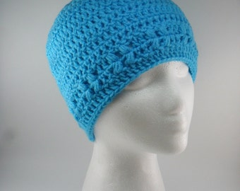Kylie Hat in Turqua Dazzling Blue - Beanie Beenie Cloche Cap  - Ready to Ship - FREE US Shipping