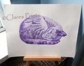 Original Cat Art Purple Sleeping Cat Limited Edition Hand-Pulled Collograph Print