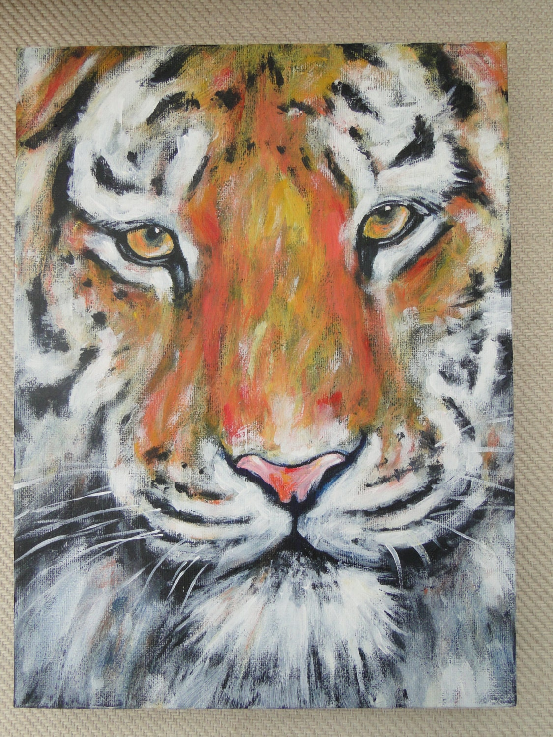 Cat painting tiger original acrylic painting on by for Cat paintings on canvas